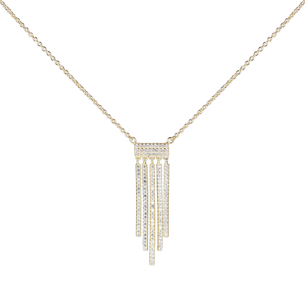 sterling CZ fringe necklace