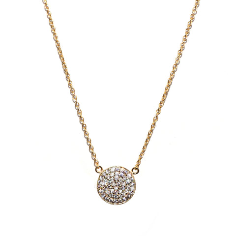 sterling cz disc necklace