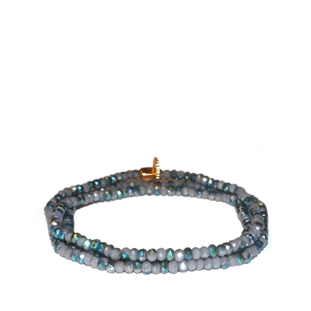teal/green/grey mini stretch bracelet wrap