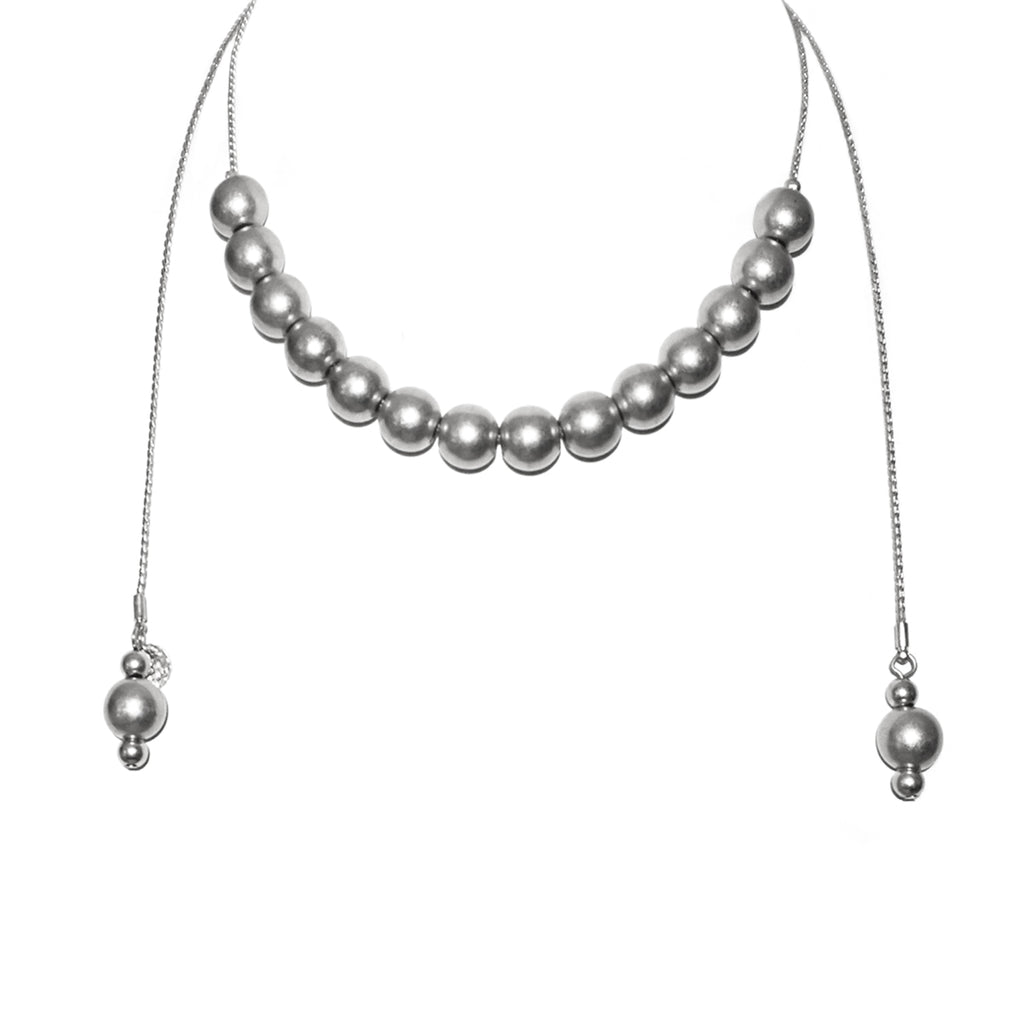 adjustable metal beaded necklace