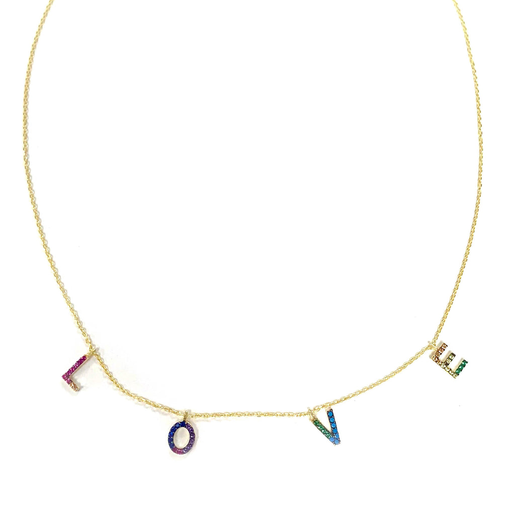 sterling rainbow LOVE necklace