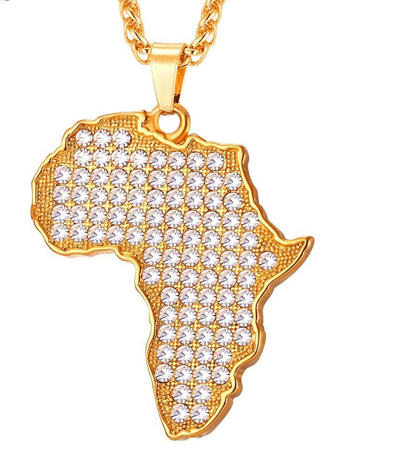 Full Crystal Map of Africa Pendant Necklace Unisex