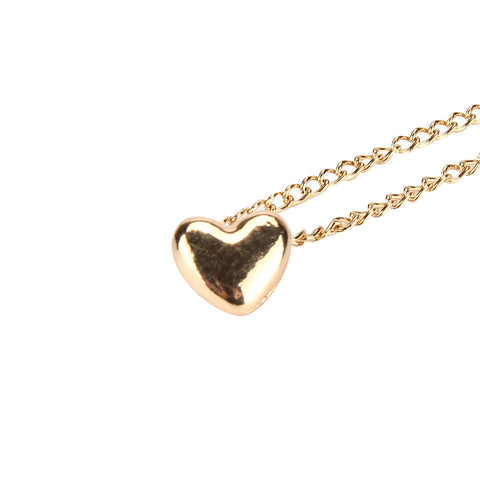 Gold Heart Thin Chain Necklace