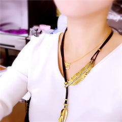 CHARISMATIC LEAF COLLAR CRYSTAL ROPE CHAIN NECKLACE