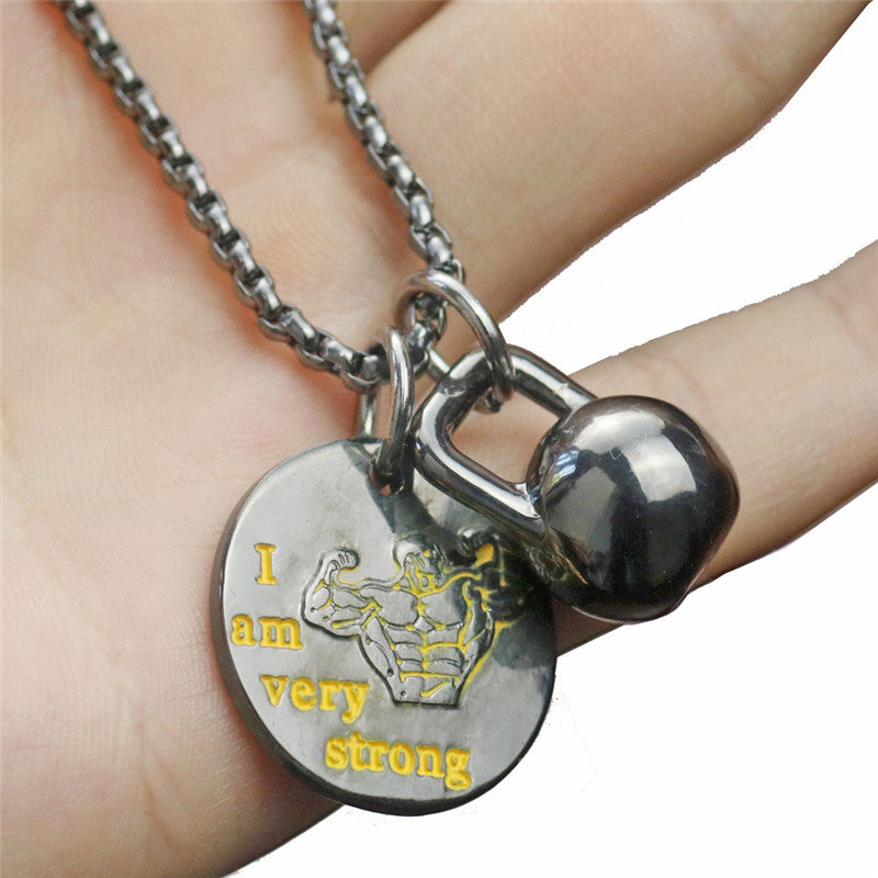 Kettlebell Pendant Necklace with message for Men