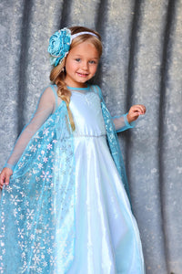Elsa (inspired) Dress with removable cape