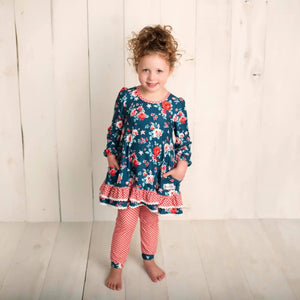 Wintergreen Rose Tunic + Joggers GIRLS set (size 6m up to 14yrs)