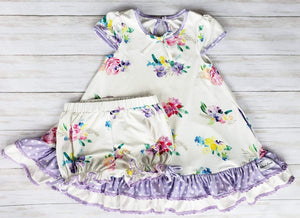 Floral Morning Lounge Set and Doll Dress Pre-Sale