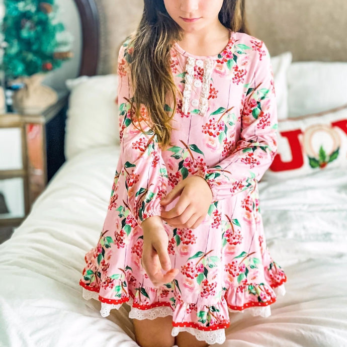 Pink Holly Berry Gown + Polka Dot Shorties