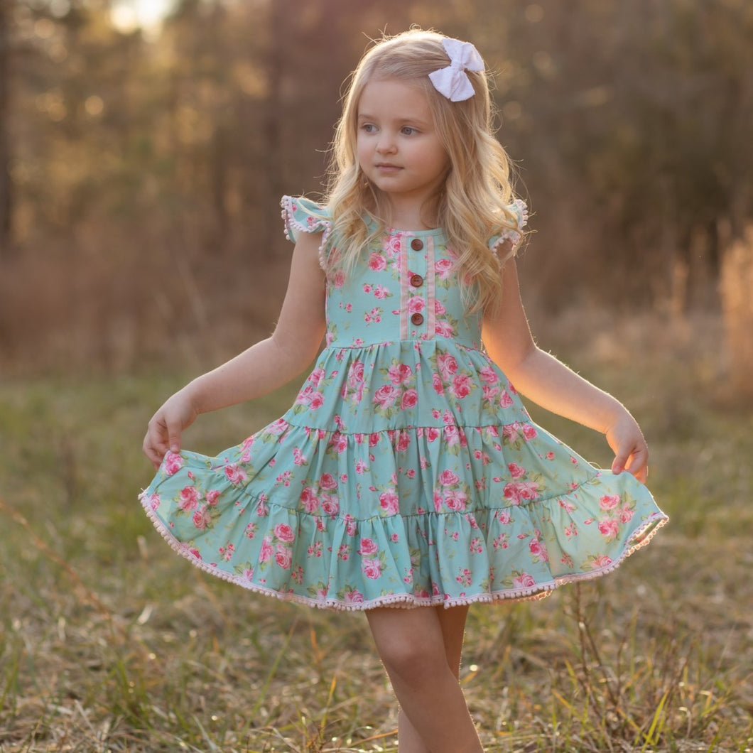 Bella Rose knit twirl dress RTS