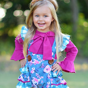 Penelope Plum Bubble +Bow Tie Shirt Set