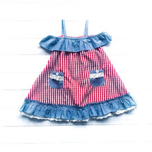 Load image into Gallery viewer, Gingham & Chambray Off Shoulder Dress
