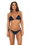 navy string bikini with customised gold accessories