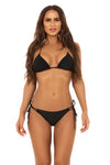 black string bikini with customised gold accessories