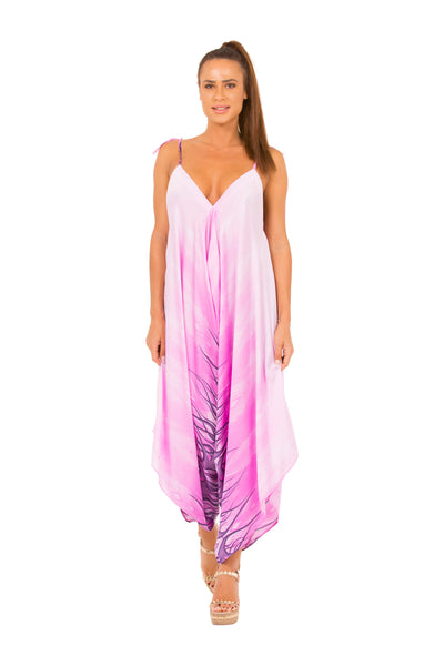 Purple Silk Printed Wide-Leg Jumpsuit