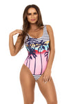 Sunset Palm print one piece swimsuit