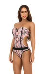 pink snake print cut out one piece swimsuit