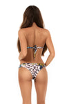 Feathered print bandeau bikini bottoms
