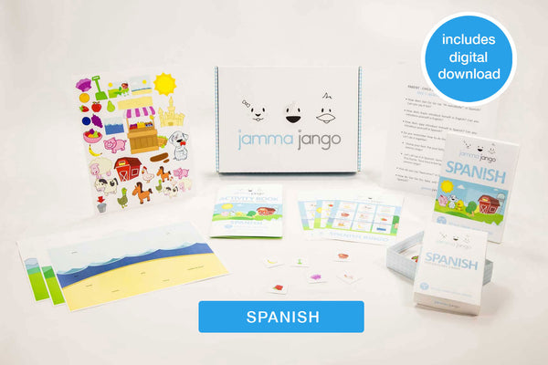 Photo showing the materials and digital download included in Jamma Jango's kit to help teach kids Spanish.