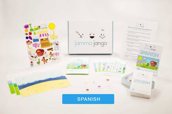 Photo showing the language-learning games and other materials that come with Jamma Jango's Spanish kit.