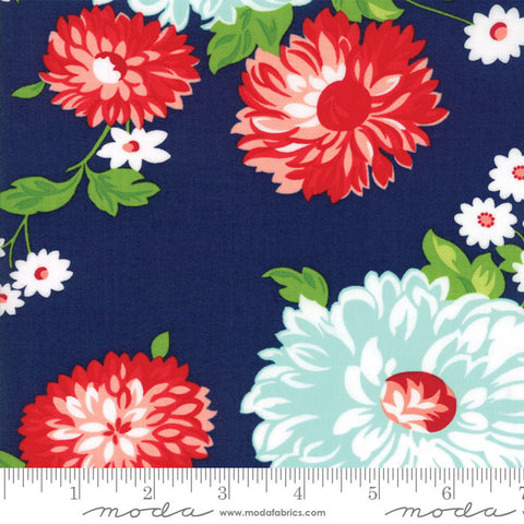 The Good Life Floral Scrumptious Main in Navy - 5 Yard Backing