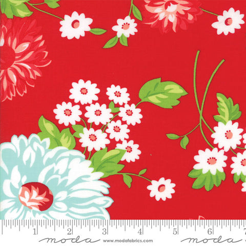 The Good Life Floral Scrumptious Main in Red - 5 Yard Backing