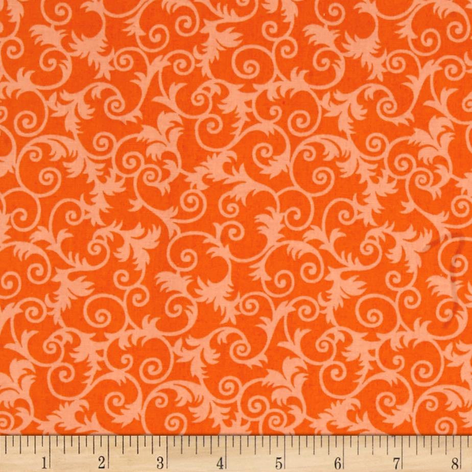 Candleabra - Freespirit Fabrics - Orange Scrolls