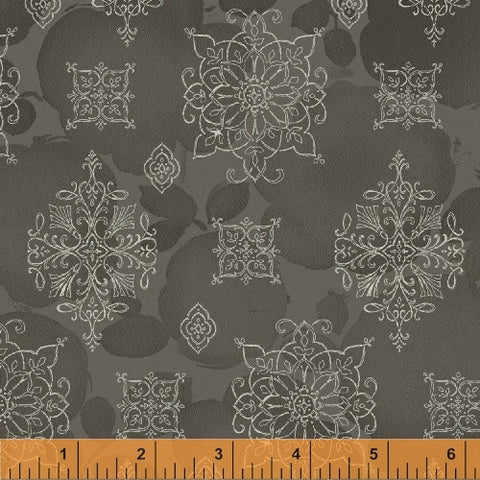Soleil Charcoal Grey Medallion by Whistler Studios for Windham Fabrics - Modern Vintage Quilt Shop