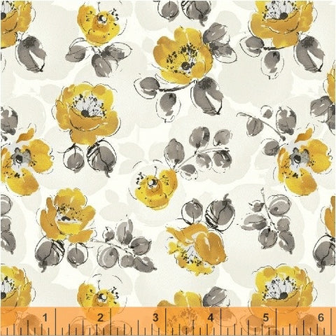 Soliel Small Floral - Yellow - by Whistler Studios for Windham Fabrics - Modern Vintage Quilt Shop