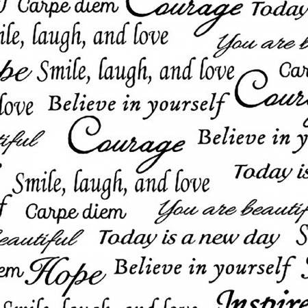 "108"" Quilt Backing - White Inspirational Words"