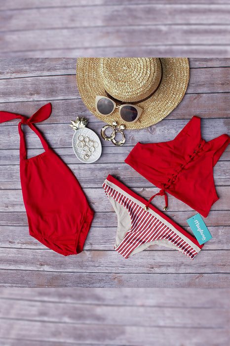 maylana kids swimwear red one piece with ruffles at back ties at neck