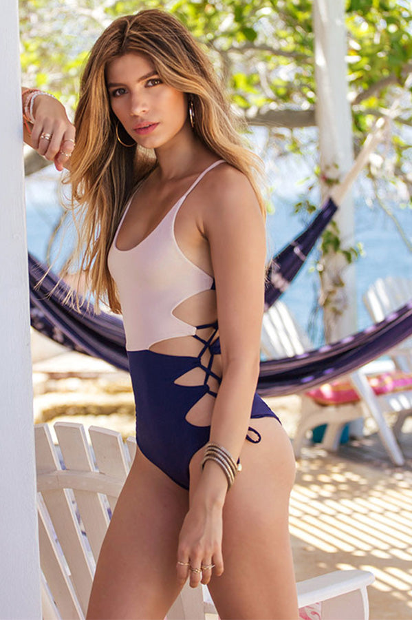 Giana Navy Beige One Piece