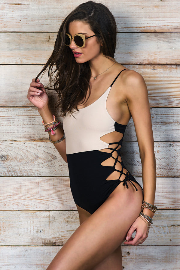 Giana Black Beige One Piece