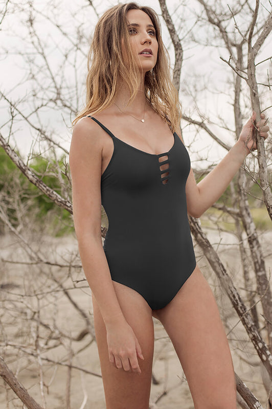 maylana black caged one piece laced swimsuit