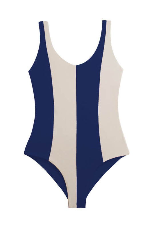 maylana reversible one piece features color block design and full coverage at rear