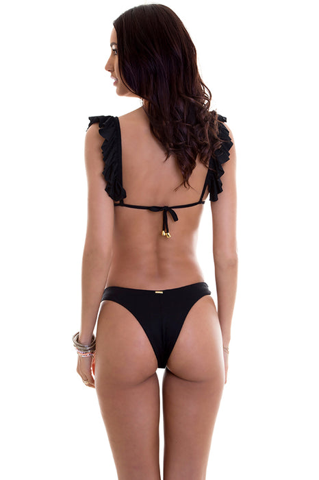 maylana black high cut bottom provides brazilian cut coverage at rear and lengthens your legs