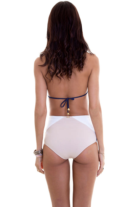 maylana bikini high waisted bottom reverses to beige provides full coverage and color block style