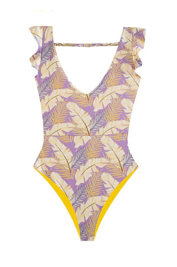 MAYLANA High Cut Swimsuit with ruffles