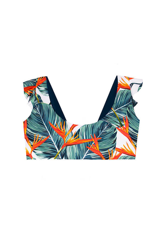 maylana swimwear convertible bralette with ruffles and tropical print