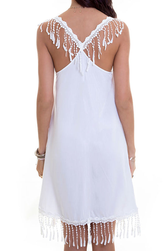 Niella White Fringe Dress