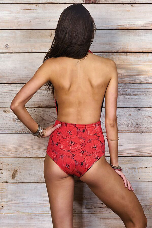 Dani Red Poppies One Piece