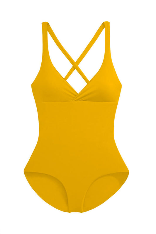 maylana mustard swimwear padded one piece swimsuit with full coverage