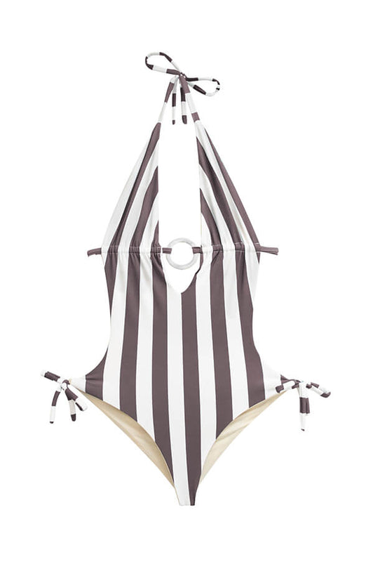 maylana striped monokini with striped print and halter design