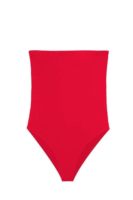 2018 bandeau red one piece moderate pads
