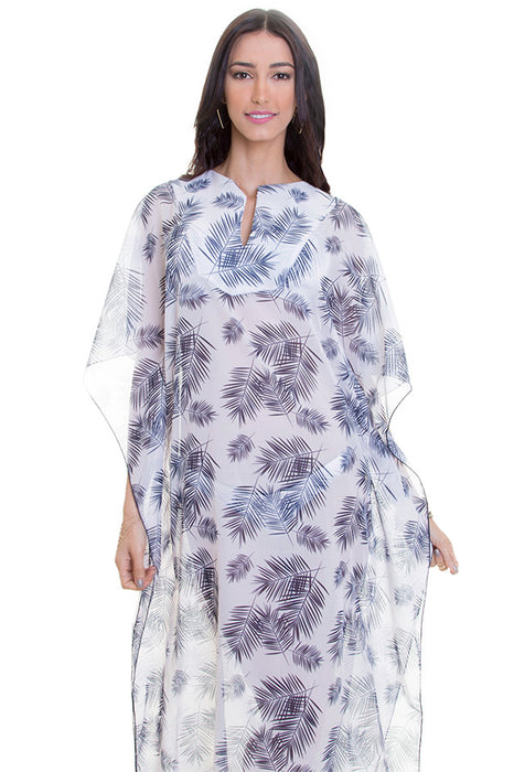 Maylana women kaftan with tropical print with plunging neckline