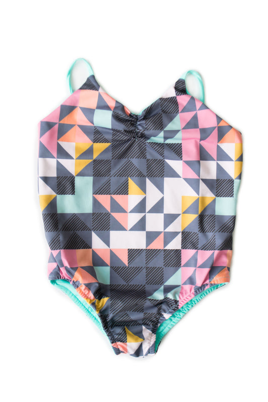 Maylana kids swimsuit with colorful print and ruched detail