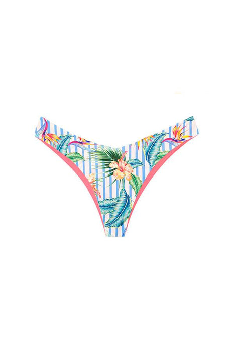 MAYLANA SWIMWEAR BRAZILIAN BIKINI BOTTOM WITH HIGH CUT AND TROPICAL PRINT REVERSIBLE TO SOLID