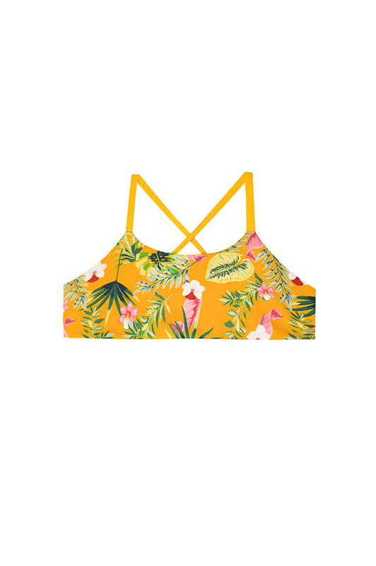 maylana kids swimwear bralette for girls with tropical design and laced details