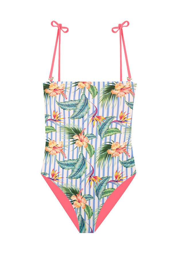 Adrienne Heliconia Stripes One Piece