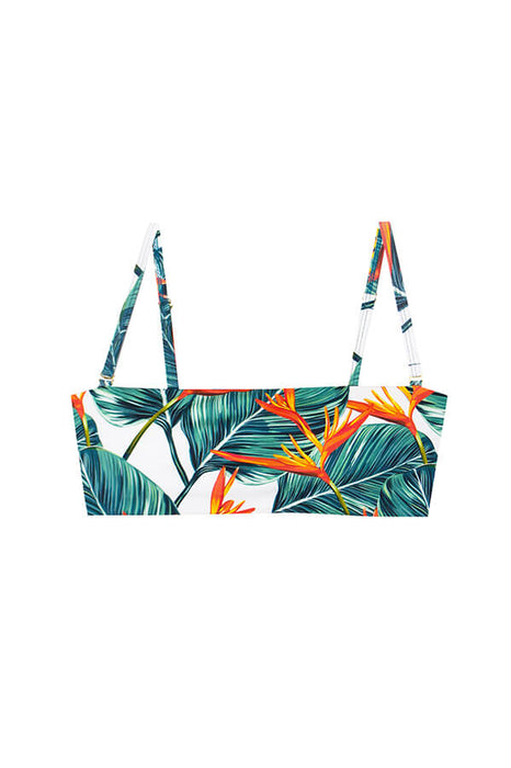 maylana swimwear bandeau tropical top with pads and removable straps